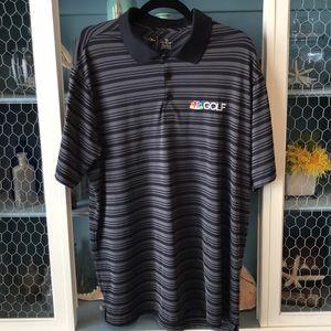 XL NBC Golf Polo Shirt Antigua Black/Grey Stripes
